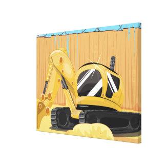 Excavator on a Building Site Canvas Print