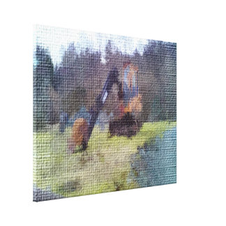 excavator photo texture stretched canvas prints