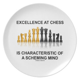 Excellence At Chess Characteristic Scheming Mind Party Plate