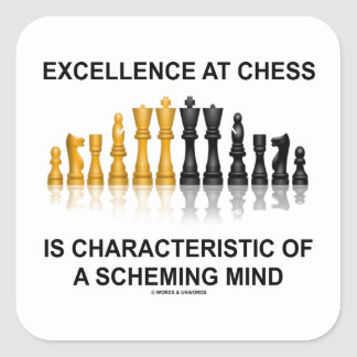 Excellence At Chess Characteristic Scheming Mind Square Sticker