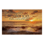 Excellence is Habit Inspirational Poster Print