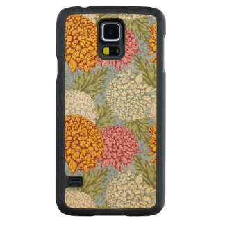 Excellent pattern with chrysanthemums carved maple galaxy s5 case