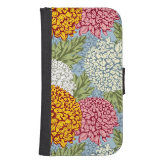 Excellent pattern with chrysanthemums samsung s4 wallet case