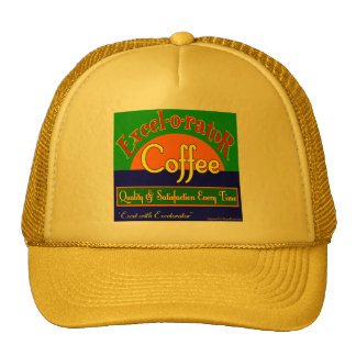 Excelorator Coffee Retro Label Art Trucker Hat