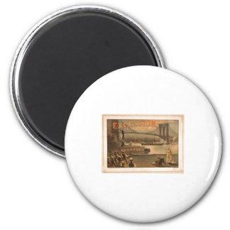Excelsior 1883 Brooklyn Bridge New York City c1883 2 Inch Round Magnet