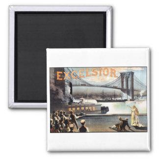 Excelsior 1883 Brooklyn Bridge New York 2 Inch Square Magnet