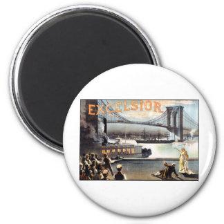 Excelsior 1883 Brooklyn Bridge New York 2 Inch Round Magnet