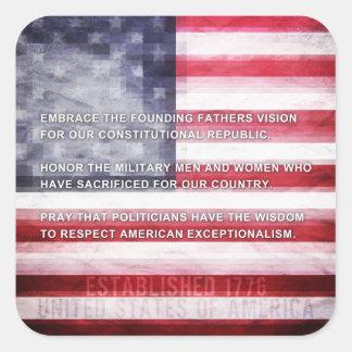 Exceptionalism americano pegatina cuadrada