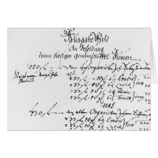Excerpt from J.S. Bach's salary payment Greeting Card