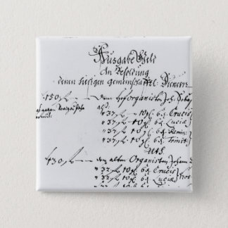 Excerpt from J.S. Bach's salary payment Pinback Button