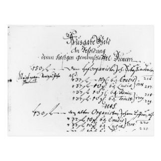 Excerpt from J.S. Bach's salary payment Postcard