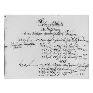 Excerpt from J.S. Bach's salary payment Poster