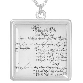 Excerpt from J.S. Bach's salary payment Square Pendant Necklace