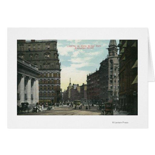 Exchange Street View of State Street Greeting Card