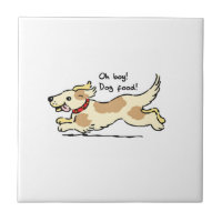 Excited for food pet dog illustration ceramic tile