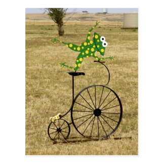 Excited Frog on a Bike Postcard
