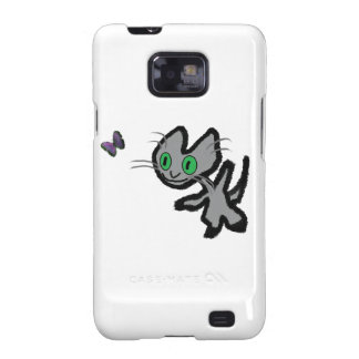 Excited Kitty Chases A Butterfly Galaxy S2 Case