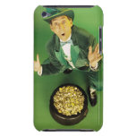 Excited leprechaun with pot of gold barely there iPod covers