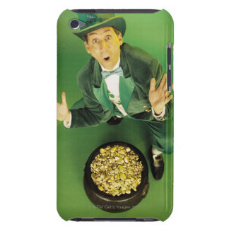 Excited leprechaun with pot of gold iPod touch cover
