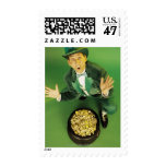 Excited leprechaun with pot of gold postage