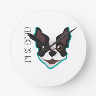 Excited Puppy Round Wall Clock