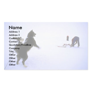 Excited sled dog business card template