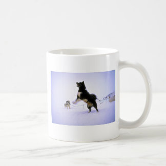 Excited sled dog classic white coffee mug