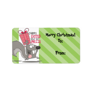 Excited squirrel chipmunk Christmas present Label