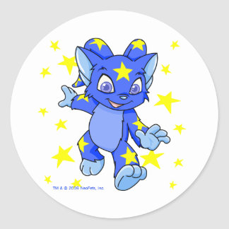 Excited Starry Acara with star burst Classic Round Sticker