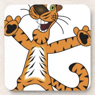 excited tiger yeah beverage coaster