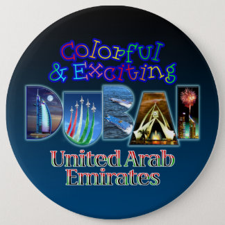 Exciting and Colorful Dubai Pinback Button