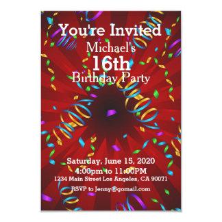 Exciting Confetti Birthday Party Invitation
