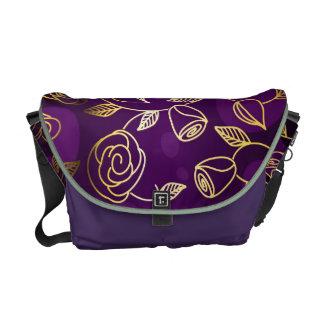 Exciting Purple With Golder Flower Art Design Messenger Bag