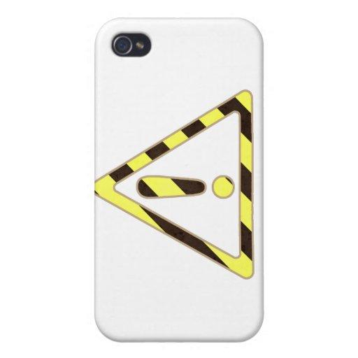 Exclamación amarilla y negra del triángulo de la m iPhone 4/4S fundas