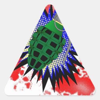 Exclamación cómica de la granada pegatina triangular