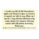 Exclamación de las tarjetas de los derechos consti