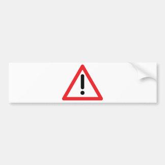 exclamation mark traffic icon bumper sticker