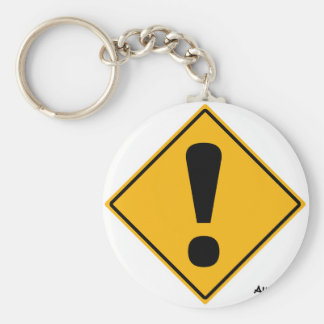 Exclamation point road sign! keychain