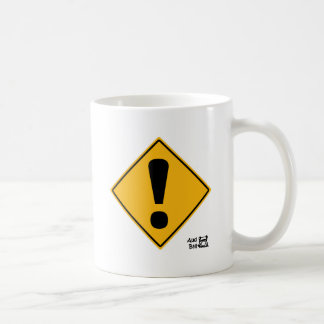 Exclamation point road sign! coffee mugs