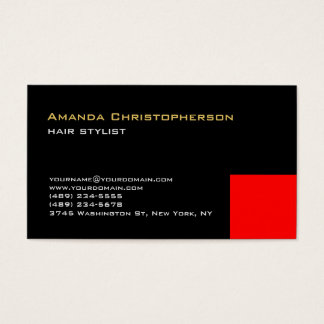 Exclusive Black Red Trendy Hair Stylist Business Card