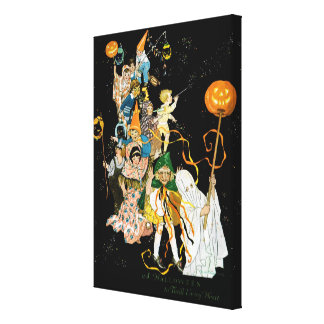 """EXCLUSIVE """"HALLOWEEN PARADE""""LOUISE CLASPER RUMELY CANVAS PRINT"""