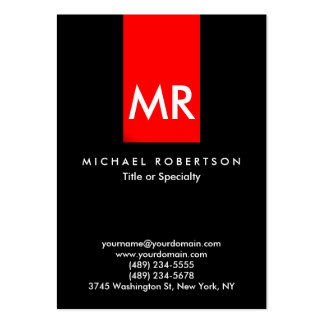 Exclusive Monogram Black Red Stripe Clean Large Business Card