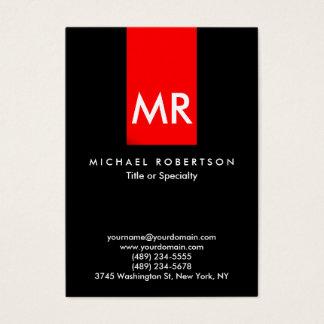 Exclusive Monogram Black Red Stripe Elegant Business Card