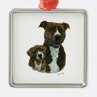Exclusive Old Timer Sanctuary Pit Bull and Puppy Metal Ornament