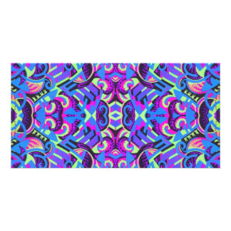 Excrutiatingly Colorful Art Deco Psychedelic Photo Card
