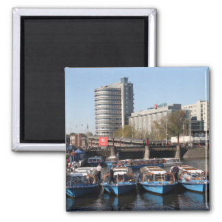 Excursion boats in Amsterdam 2 Inch Square Magnet