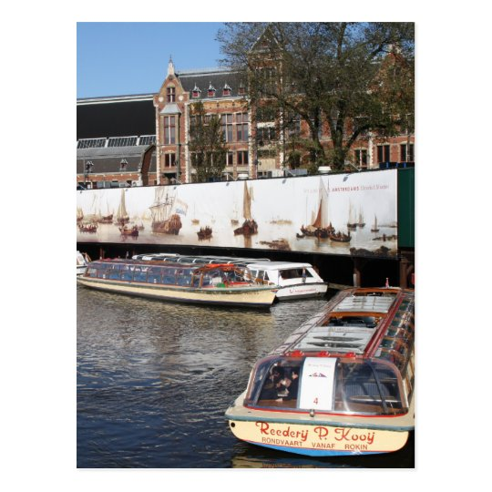 Excursion boats in Amsterdam Postcard