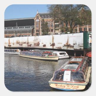 Excursion boats in Amsterdam Square Sticker
