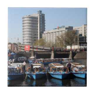 Excursion boats in Amsterdam Tile
