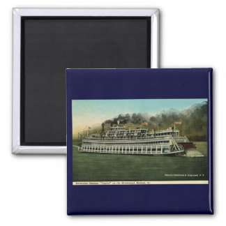 """Excursion Steamer """"Capitol"""" on the Mississippi 2 Inch Square Magnet"""